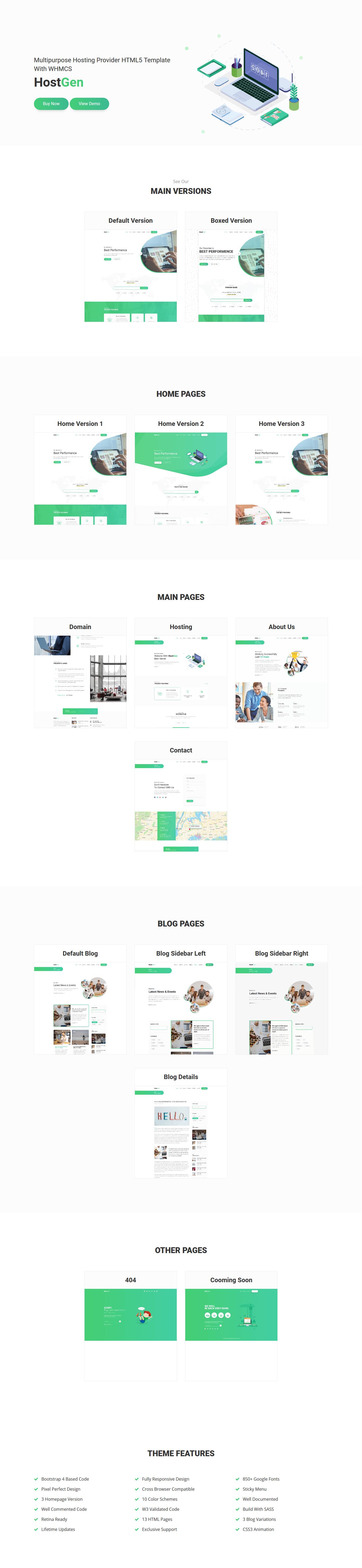 HostGen – Multipurpose Hosting Provider HTML5 Template With