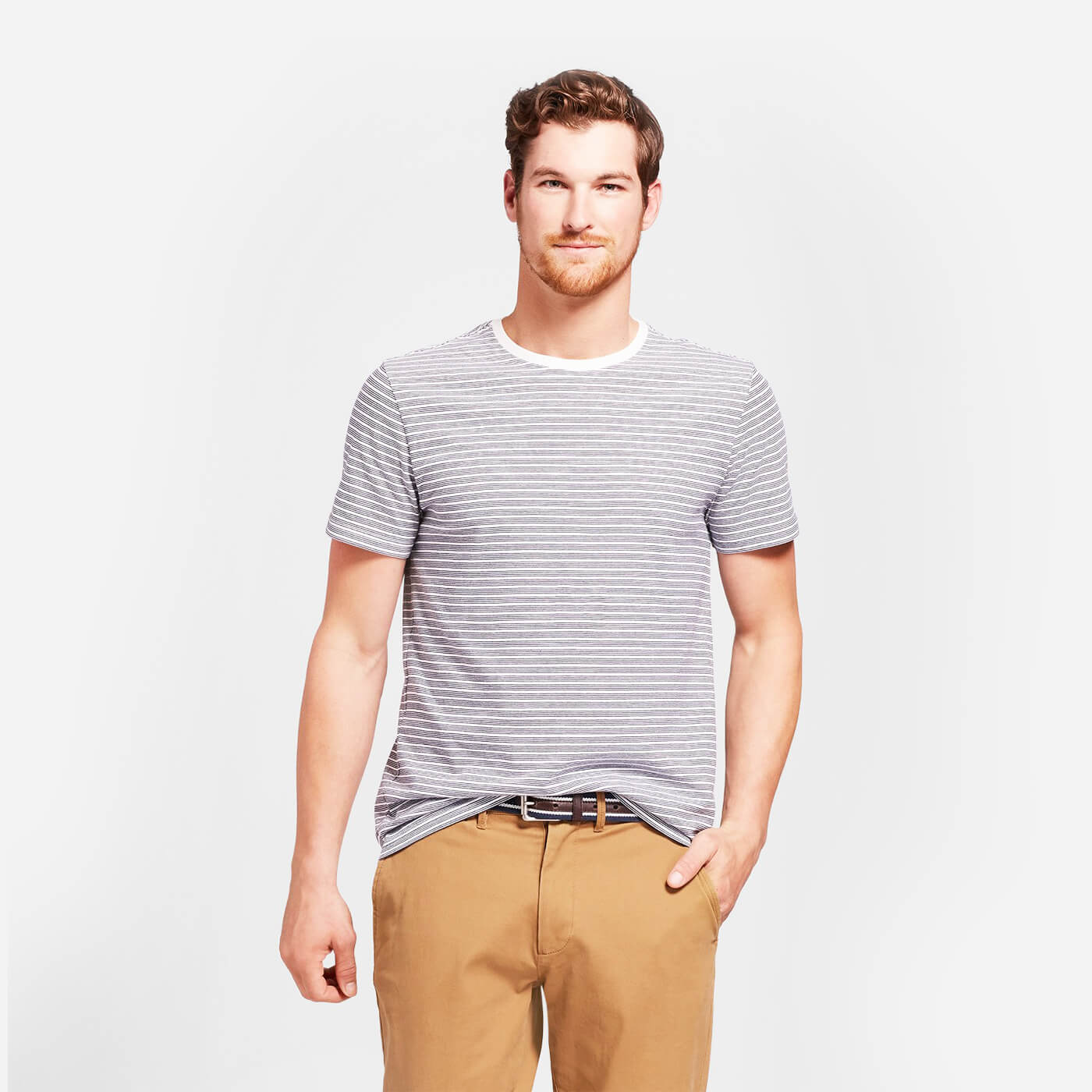 Standard Fit Short Sleeve Crew Striped T Shirt
